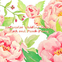 Wedding Clipart - Watercolor pink peony and peach peony instant download for greeting cards DIY wedding invitations