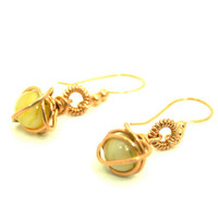 Copper Wire Wrapped Vintage Agate Bead Dangle Earrings