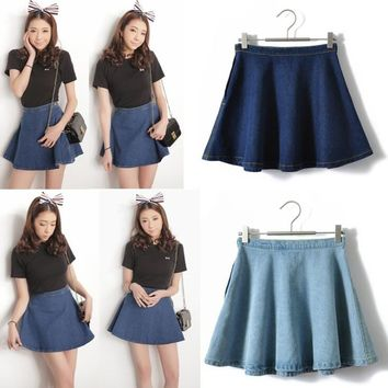 Women's Denim short skirts A-line short Circle skirts High Waist women's celebirty causal jeans bust denim short skirts  S M L