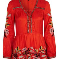 Embroidered Smock Top - Tops - Clothing