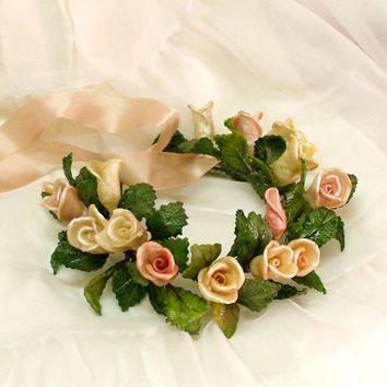 Vintage handmade Roses hair crown wreath decor bridal flower girl wreath Shabby chic roses wreath home decor