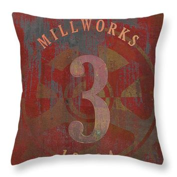 "Millworks Industrial Sign Red Grey Throw Pillow for Sale by Suzanne Powers - 14"" x 14"""