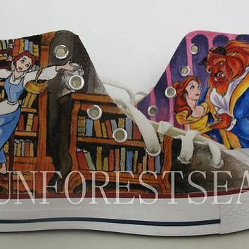 Custom/converse/hand painted shoes/canvas shoes/Beauty and the Beast
