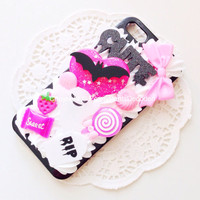 CUSTOM Handmade Creepy Cute / Spooky Decoden Phone Case Kawaii Kitsch