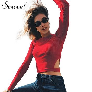 Simenual Cut out half turtleneck sweater knitwear cropped jumper pullover female sexy fitness red women sweaters and pullovers