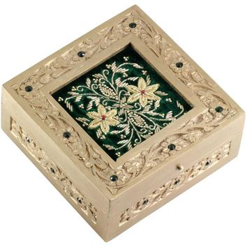 Handmade Wood Jewelry Box With Zari Work On Green Velvet