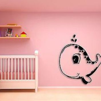 Wall Sticker Cute Baby Whale  Animals Modern Decor for Nursery Room Unique Gift z1438
