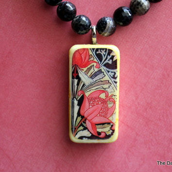 The Red Flower Altered Art Domino Necklace