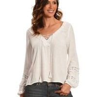 Derek Heart Women's White Lace Up & Fit Trim Shirt