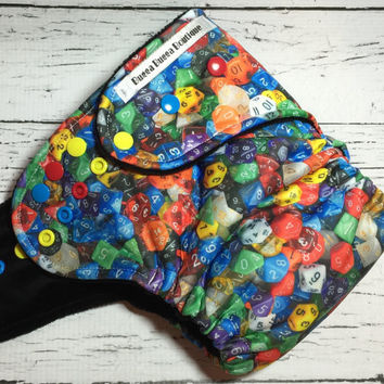 Gamer Dice Dungeons & Dragons RPG *Hybrid* Fitted Cloth Diaper With Cotton Velour and Heavy Bamboo Fleece Embroidered
