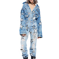 SHINE FOR ME DENIM JUMPSUIT