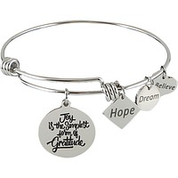 Stainless Steel Expandable Charm Bangle Bracelet Joy is the Simplest Form of Gratitude
