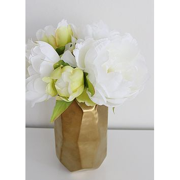 White Fake Peony Silk Wedding Bouquet - 9.5""