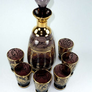 Vintage Decanter Cordial Set with 6 Shot Glasses Amethyst Purple and Gold Gilt