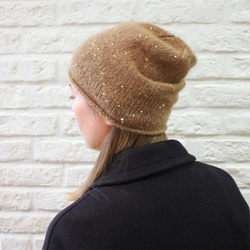 Womens slouchy beanie in Vicuna Beige, Sequin alpaca hat, Cute womens hat, Skully hat, Camel beanie
