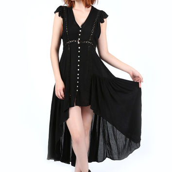 La Boheme Black Button Front Maxi Dress