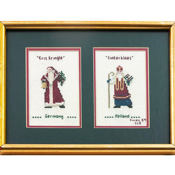 Vintage Santa Wall Art Christmas Framed Cross Stitch Kris Kringle Germany and Sinterklass Holland 1989 Xmas Needlework Wall Hanging Kitsch