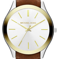 Michael Kors 'Slim Runway' Leather Strap Watch | Nordstrom