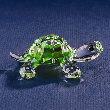 Small Green Turtle Glass Figurine w/ Swarovski Elements