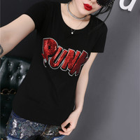 Fashion Casual Embroidery Sequin Letter Round Neck Short Sleeve T-shirt Shirt Top Tee