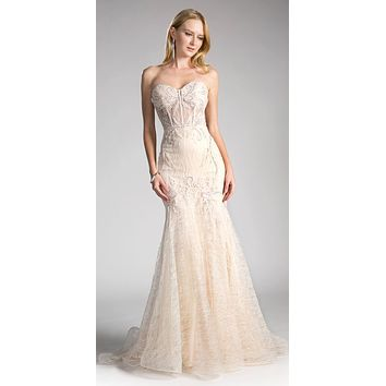 Lace Strapless Mermaid Long Formal Dress Champagne