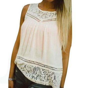 NIBESSER 2018 Summer Tank Tops Women Vest Lace O-neck Casual Female Shirt Sleeveless Loose Fashion Top Tank New Arrival