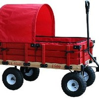Millside Industries Classic Wood Wagon with Red Wooden Racks