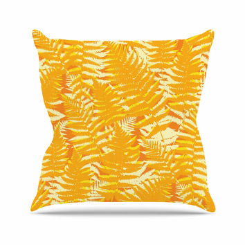 "Jacqueline Milton ""Fun Fern - Citrus"" Orange Gold Outdoor Throw Pillow"