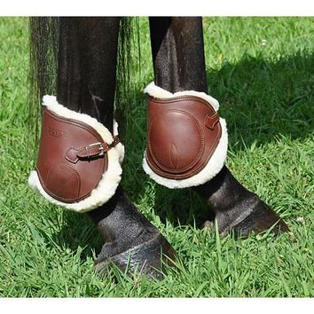 Dover Premier Leather Ankle Horse Boots with Fleece and Buckle Closure   Dover Saddlery