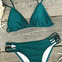 Cupshe Heat Tropics Green Strappy Bikini Set