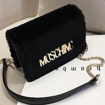 MOSCHINO Women Leather Plush Bag Shoulder Bag Crossbody Satchel Black