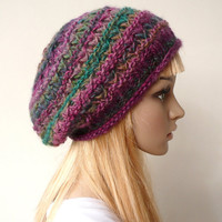 Slouchy Beanie Slouchy Hat  Hand Knit Hat Slouch Beret Multicolor Tam Wool Hat Winter Hat in Variegated Yarn Winter Accessories
