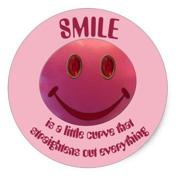 Lipstick Smiley Face Classic Round Sticker