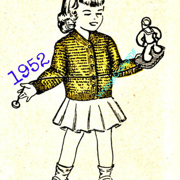 1952 Crochet Pattern | Little Girl Cardigan | Cute Sweater-Kids in the 50s-50s Kids Clothes-Clothing Pattern-Vintage Crafts PDF-- USA