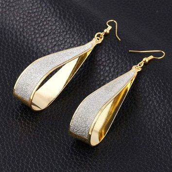 Long Drop Dangle Earrings 14k Yellow Gold Plated Diamond Cut Leverback 711181588880