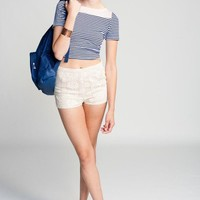 Lucca Couture Striped Crop Tee