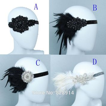 Crystal Rhinestone Applique Artifical Feather Headband Flapper Fancy Dress Costume Party Hair band Headpiece 1920's Gatsby