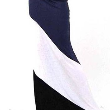 Colorblock High Waist Stretch Maxi Skirt