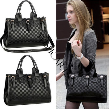 Women's Grid Bag Checker Board Synthetic Leather Handbag Shoulder Bag (Color: Black) = 5617689793