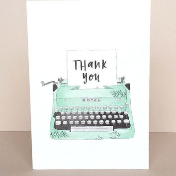 Thank You Typewriter Greeting Card by In The Daylight