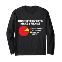 How Introverts Make Friends Funny Cat Long Sleeve T-Shirt