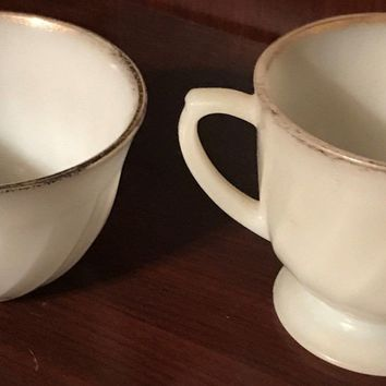 Sugar Bowl Cup Vintage Fire King Ware Milk White Gold Trim Made in the U.S.A