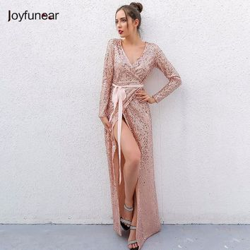 Joyfunear Sexy Club Wear Party Dress Womens Pink Gold Knot Deep V Neck Twist Front High Slit Long Sleeve Sequin Maxi Dress