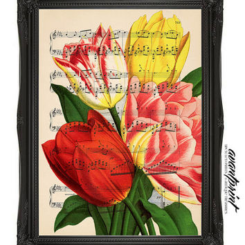 Whimsical Musical Tulip Garden Bright Print on an Unframed Upcycled Bookpage