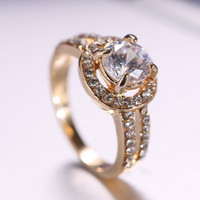 weekend deals his and hers promise ring wedding ring cute rhinestone gold plated Ring for Women Crystal Engagement Wedding Rings