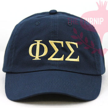 Phi Sigma Sigma Greek Only Sorority Baseball Cap - Custom Color Hat and Embroidery.