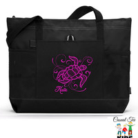 Personalized Zippered Sea Turtle Tote Bag with Mesh Pockets, Beach Bag 7 colors to choose from
