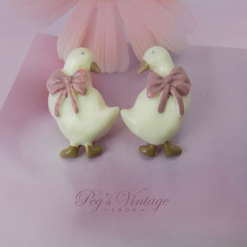 Sweet Vintage Easter Duck Earrings, Acrylic Bird Animal Jewelry