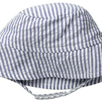 Flap Happy Baby Girls' UPF 50+ Crusher Hat, Chambray Stripe Seersucker, Large