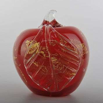 Glass Decoration of Red Apple Home Decor Murano Art Styled Blown Glass Figurine Colorful Statue